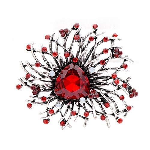 Owenqian Frauen Broschen Schmuck, Verfügbare glänzende Kristallblumenbroschen Hochzeitsmantel Pin Autumn Sytle Schmuck Luxus