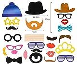 JZK 25 Photo Booth Props mit Rahmen, Brillen Lippen Krawatte Masken Hut Foto Requisiten Foto Accessoires für Hochzeit Geburtstag Taufe Babyparty Weihnachten Neujahr - 9