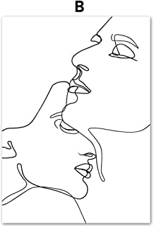 kangbaby Abstract Line Drawing Love Kiss Sexy Girl Wall Art Canvas Painting Nordic Posters and Prints Wall Pictures for Living Room Decor@20X25_cm_No_Framed_B