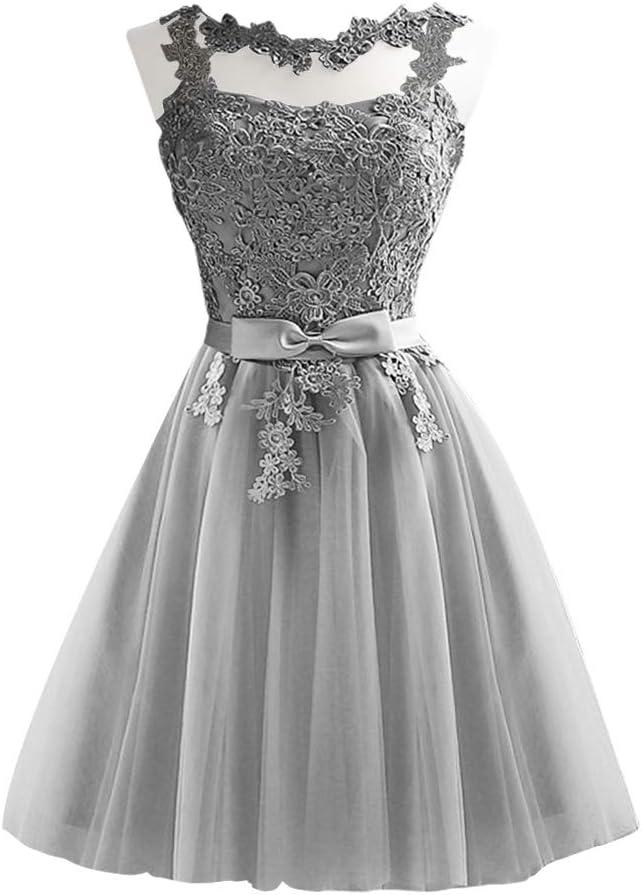 Amosfun Short Lace Bridesmaid Party Dress Elegent Evening Dress Slim Bridesmaid Dress Soft Wedding Dresses (Grey, Size S)
