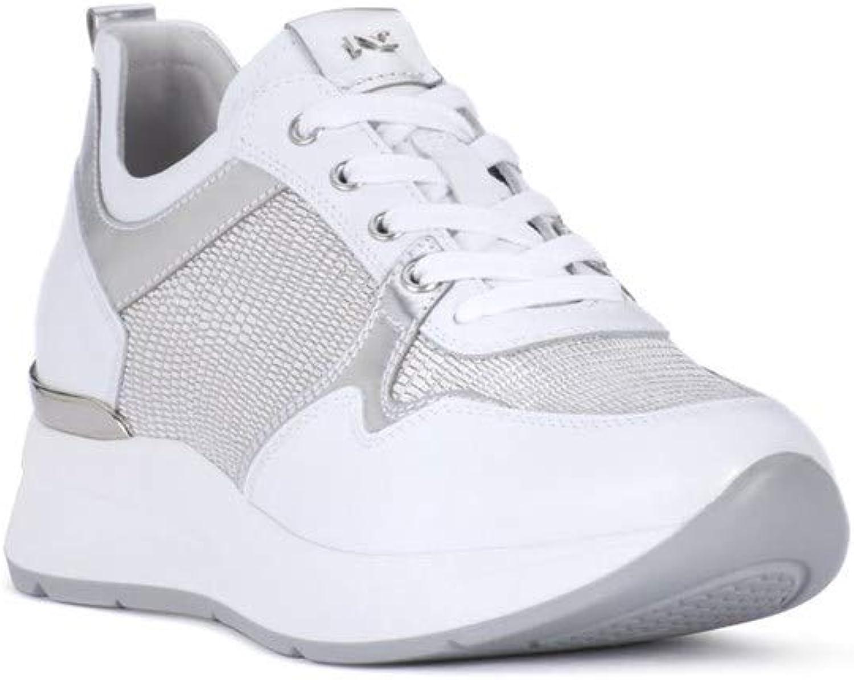Schwarz Giardini , , , Damen Turnschuhe Weiß Weiß Silber 349