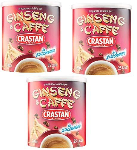 3x Crastan Ginseng und Kaffee Instant Kaffee Bohnenkaffee 200 gr 25x Tassen