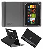 Acm Designer Rotating Leather Flip Case Compatible with Kindle Fire Hd 7 2012 2nd Gen Tablet Cover Stand Black