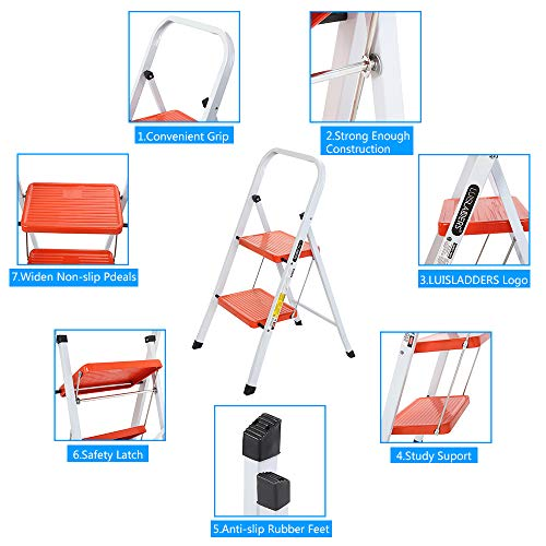 LUISLADDERS 2 Step Ladder Folding Step Stool Heavy Duty Ladders with Handgrip Anti-Slip Sturdy and Wide Pedal Multi-Use for Home and Kitchen 330lbs