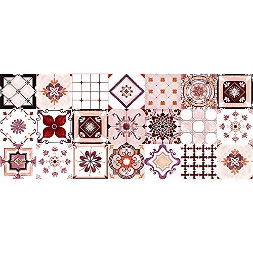 E EVENTUAL – Alfombra Vinílica Azulejos – Moqueta vinílica decoración PVC Flexible Antideslizante– Suelo vinílico Impreso Lavable – Alfombra de Vinilo PVC - Decoración Hogar Vintage (Rojo, 180x75cm)