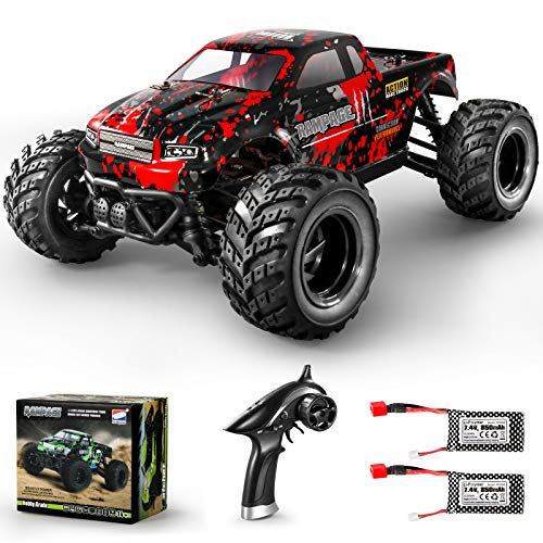 HAIBOXING 1:18 Scale All Terrain RC Car 36KM/H High Speed, 4WD Electric Vehicle,2.4 GHz Radio Controller, Included 2 Batteries and A Charger,Waterproof Off-Road Truck (Red)