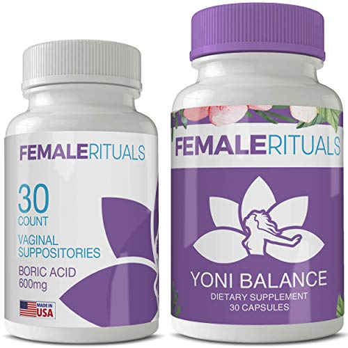 Female Rituals - Yoni Detox Bundle - Vaginal Moisturizer Boric Acid Suppositories for PH Balance - Bad Odors and Bacteria Vaginosis Yeast Infection Treatments - Feminine Hygiene Products - Yoni Pops