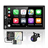 Double Din Car Stereo Audio Receivers with Apple Carplay & Android Auto Bluetooth Car Radio with AHD Backup Camera 7 Inch Touch Screen, Dual USB, FM Radio, Aux-in,SWC, Wireless Mirror Link