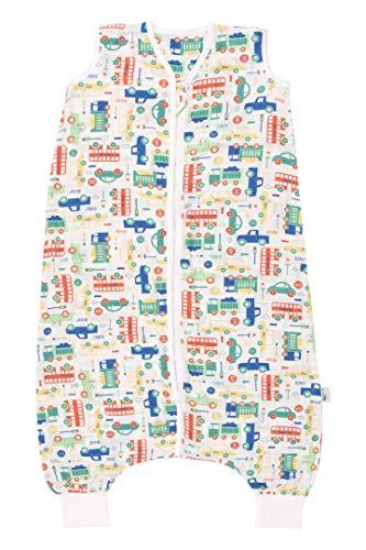 Schlummersack Bambus-Musselin Schlafsack mit Füßenfür den Sommer in 0.2 Tog - Autos - 120 cm