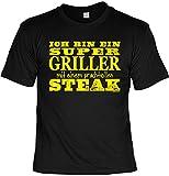 Art & Detail Shirt - Camiseta divertida con texto en alemán 'Super Griller mit Steak' Negro XXXXXL