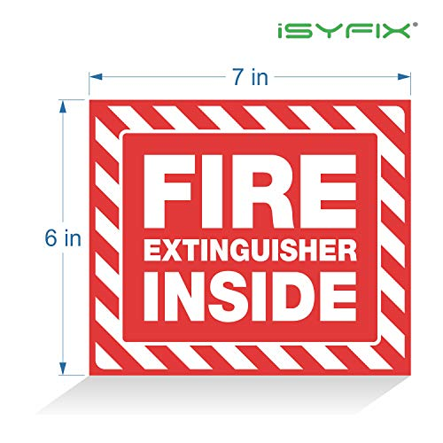 Fire Extinguisher Inside Signs Stickers – 4 Pack 7x6 Inch – Premium Self-Adhesive Vinyl, Laminated for Ultimate UV, Weather, Scratch, Water and Fade Resistance, Indoor and Outdoor