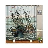 Beydodo Wasserdicht Duschvorhang Vintage Octopus mit Boot Duschvorhang Anti-Schimmel 120x180 cm