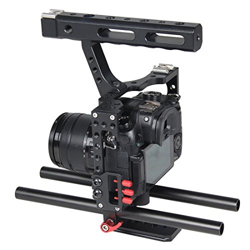 Safe Color : Black Adapter Adjustable Camera Accessories Camera Cage Stabilizer for Sony A6400 A6500 A6300 A6000 with 1//4 3//8 Mounting Point and Built-in Cold Boots Universal Tripod