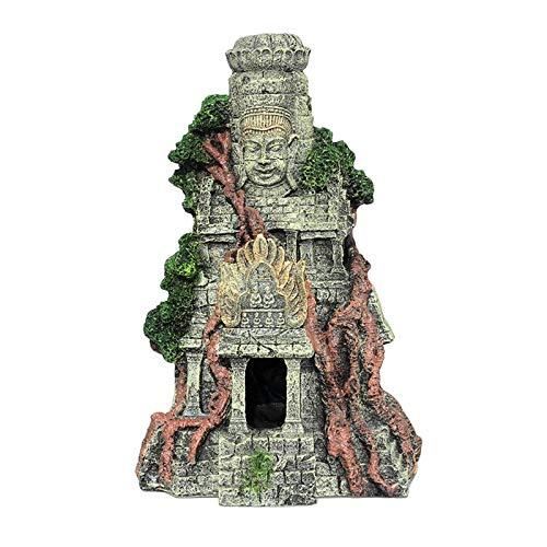 MagiDeal Estatua de Buda para Acuario, pez, Cueva, Resina, estatuillas talladas, Escena misteriosa, Edificio, Acuario, Ornamento para el jardín de la pecera