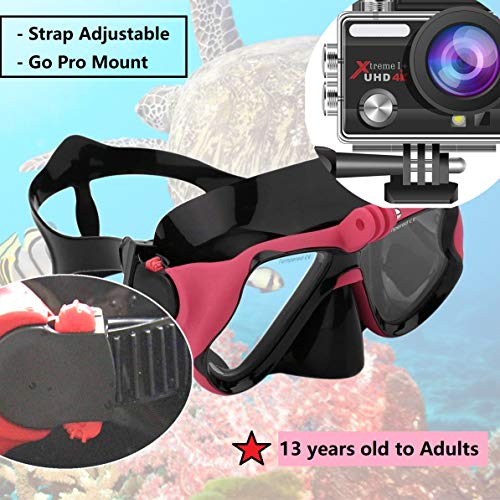 DiiDa Snorkel Set Adults and Youth with Go Pro Mount, Tempered Glass Anti-fog Mask Anti-Leak Snorkel Mouthpiece Scuba Diving Kit