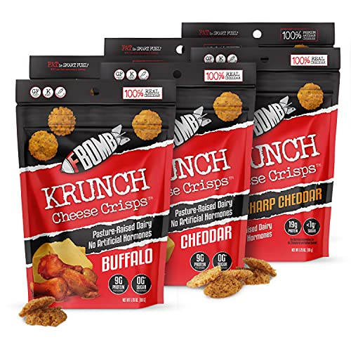 Fbomb Cheese Crisps: Healthy Low Carb Snacks, High Protein Crisps, 100% Natural Keto Snacks   Oven Baked, Premium Artisan Cheese, Gluten Free, Sugar Free   Cheddar, Buffalo, Salt And Vinegar Variety 6 Pack from Love You Foods, LLC