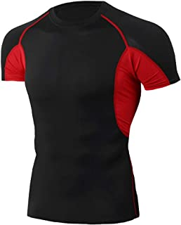 Compression Shirt for Men Dry Cool Sports Tights Short Sleeve Workout Base Layer Tight Tops,BlackRed,XXL