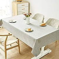 テーブルクロス コットン麻生地スクエアラウンドテーブルクロス、テーブルリビングルームの寝室の結婚式、北欧スタイルライトグレーピュアカラーテーブルクロス、 (Size : 140*180cm)