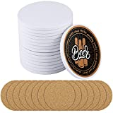 Ruisita 16 Pack Crafts Ceramic Tiles with Cork Backing Pads 4 Inch Round White Ceramic Coasters DIY Your Own Coasters for Crafts Project