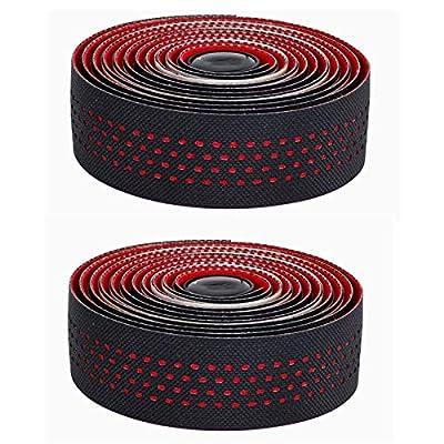 CNC 2 Pcs Bike Handlebar Tape, Road Bicycle Bar Tapes, Cycling Handle Wraps for Mountain Bike, Red