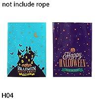 JJKEDW 装飾包装ハロウィンパーティープラスチックキャンディバッグ漫画カボチャ猫ハッピーハロウィンスナッククッキーバッグキャンディー20個 (Color : H04, Gift Bag Size : 40pcs)