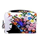 Neceser bolsa de maquillaje, brochas de transporte, bolsa de lavado de gimnasio, bolsa organizadora de cosméticos, kit de viaje para hombres y mujeres, vestido de flores de mariposa rosa