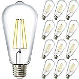 Sunco Lighting 12 Pack ST64 LED Bulb, Dimmable, Waterproof, 8.5W=60W, 3000K Warm White, Vintage Edison Filament Bulb, 800 LM, E26 Base, Restaurant or String Lights - UL