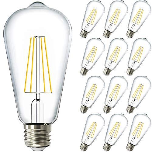 Sunco 8.5 Watt (60 Watt Equivalent) 6000 Kelvin Edison Style LED Light Bulbs