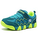 Kids Outdoor Sneakers Strap Athletic Running Shoes (Green,11.5 Little Kid)