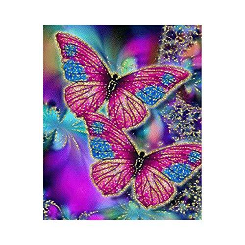 DIY 5D Diamond Painting, YUYOUG 5D Diamant Broderie Papillon de Couleur Résine Point de Croix Peinture Kits DIY Needlework Décoration Salon Chambre - 30x40cm