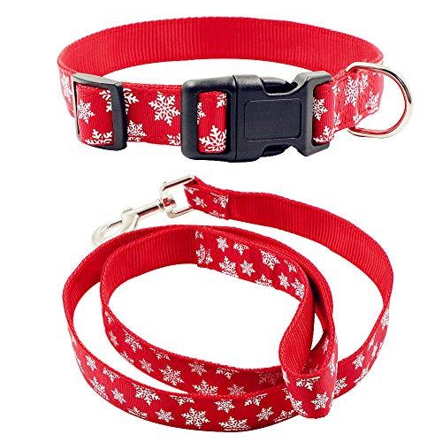 Petsoigné Set Hundeleine und Hundehalsband für Weihnachten und Neujahr Hunde Leine und Halsband Einstellbar in Nylon (S, Schneeflocke)