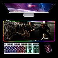 ハッピー恐竜ゲーミングマウスパッドデスクラップトップコンピューターホームオフィス用大型LEDRGBキーボードマット900x300x4mmA