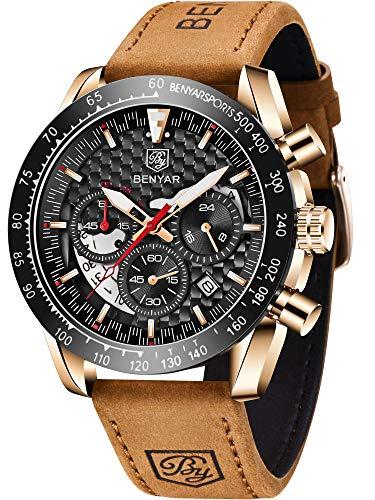 Relógio masculino analógico de quartzo com cronógrafo BENYAR à prova d'água com pulseira de couro, Rose Gold Black