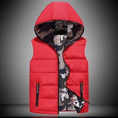 NHMDE Men'S Sleeveless Down Jacket,Winter Men'S Hooded Down Vest Jacket Double-Sided Wear Puffer Vest Camouflage Sleeveless Simple Red Elegant Outdoor Sports Leisure Comfortable Soft,4Xl