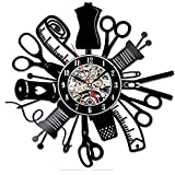 Rgzqrq Herramientas de Sastre Reloj de Bricolaje Hecho a Mano Personalidad de la Moda Creativo Simple Dormitorio Reloj de Pared con Registro de Vinilo 30x30cm