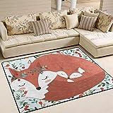 Jstel Ingbags Teppich, superweich, modern, Vintage-Stil, niedlich, Fuchsmutter, Wohnzimmerteppich, Schlafzimmerteppich für Kinder zum Spielen, solide Heimdekoration, 160 x 122 cm