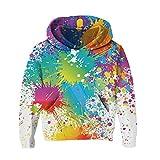 RAISEVERN Grande niñas niños Unisex Graffiti impresión suéter con Capucha Chaqueta Manga Larga Sudadera Chandal Blanco