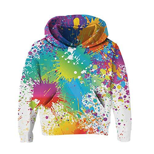 RAISEVERN Kid Soprabiti Abbigliamento Ragazzini Ragazze Bianche Graffiti Print Confortevole con Cappuccio a Maniche Lunghe T-Shirt in Cotone Felpa Pullover 7-10T
