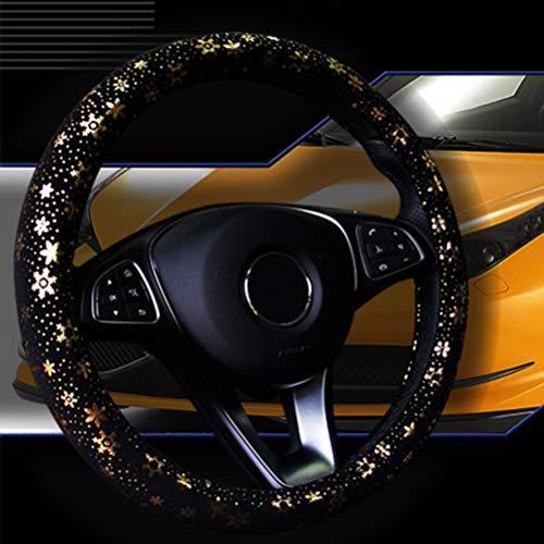 Istn Auto Lenkradabdeckung Glänzende Schneeflocke 4 Farben Anti-Slip Niedlich Für 15 Zoll Frauen Gold