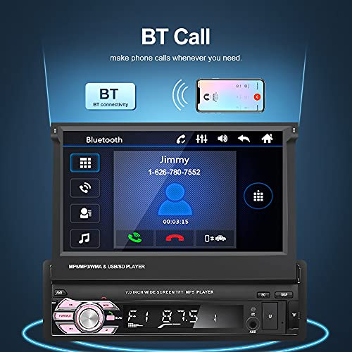1 Din Touchscreen Car Stereo with GPS Navigation, 7 Inch Single Din Flip Out Car Radio Bluetooth with Backup Camera
