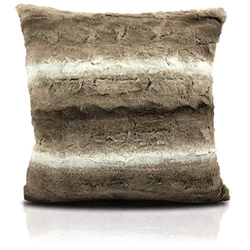 Nrc Warm Faux Fur Arctic Wolf Cushion Covers Bedroom lounge Soft Animal Silver Brown (Beige Brown White)