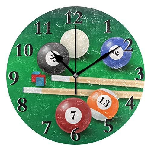 LZXO Wanduhr Sport Billard Bälle Muster Nicht tickend leise 24 cm runde Uhr leise batteriebetrieben Deko für Küche Wohnzimmer Schlafzimmer Büro
