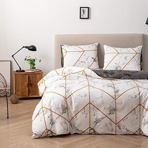 Damier Ropa de cama de mármol de 135 x 200 cm, color blanco, gris y dorado, diseño moderno geométrico, juego de funda nórdica de 2 piezas de microfibra suave con cremallera (135 x 200 cm + 80 x 80 cm)