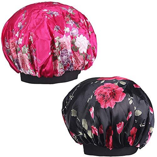 NALCY 2 delar brett band satängmössa, mjuk satin sovmössa, satin hätta sovmössa för kvinnor flicka sovande hårvård (svart och rosenröd)