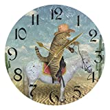 ART VVIES Reloj de Pared Redondo de 10 Pulgadas, sin tictac, silencioso, Dorado, con Pilas, para Oficina, Cocina, Dormitorio, decoración del hogar, Caballo, Gato, Vaquero, Planta en el Desierto