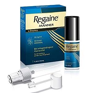 Regaine stoppt erblich bedingten Haarausfall und regt neues Haarwachstum an Die Wirksamkeit von Minoxidil ist bei Männern medizinisch belegt und von 90 % der Verwender der Regaine Männer Lösung bestätigt Nach nur 12 Wochen Anwendung sichtbare Ergebni...