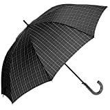 [ムーンバット] GENTS エクセルジェンツ メンズ 紳士 雨傘 長傘 チェック プリント ジャンプ ブラック 日本 親骨の長さ:約65㎝ 全長:約88㎝ 手元:約16.5㎝ (FREE サイズ)
