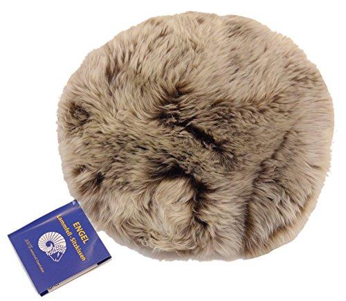 Reissner Lammfelle Engel Naturfelle Sitzauflage DIANA-34-CAP aus Lammfell hochwollig rund 34cm, Cappuccino