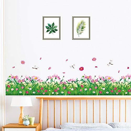 WandSticker4U- Wandtattoo Blumenwiese KAMILLE in 2er Set | Breite: 228 cm | Wand-aufkleber Blumen rosa Libelle Gräser Wiese Pflanzen Bordüre...