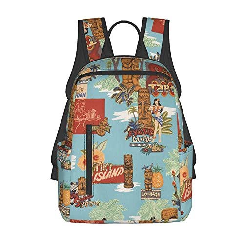 NiYoung School Shoulder Book Bags, Big Capacity Backpack for School Travel Walking Cycling, Tiki Aloha Travel Hiking Bag & Day Pack for Man/Women/College Teen Girls